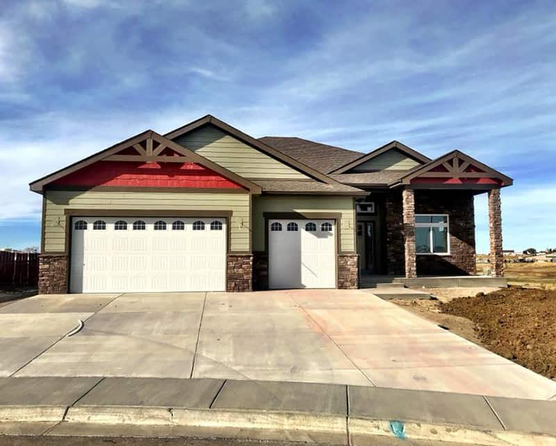 built home with red accents | crosswinds construction | Gillette, Wyoming
