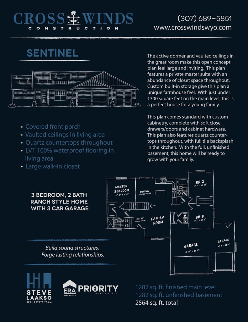 sentinel floor plans | crosswinds construction | Gillette, Wyoming