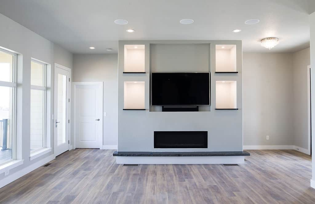 living room with white trim